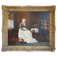 Signed German Oil on Canvas Painting, Interior Genre Scene with Lady Sewing