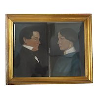 Pair American Pastel Drawing on Paper Portraits of a Couple