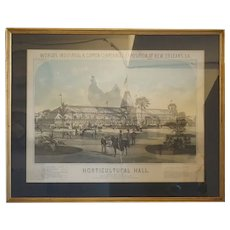 Rare American Color Lithograph, New Orleans Centennial Exposition Horticultural Hall
