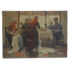 After Walter McEwen Oil on Canvas Painting, The Judgement of Paris