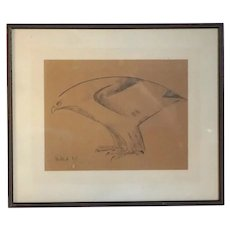 Signed Pencil Drawing on Paper, Sketch of a Hawk