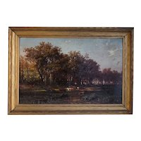 ALBERT BORRIS Oil Painting, German Pastoral Fall Landscape of Grazing Cows