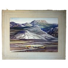 JOHN SCOTT WILLIAMS N.A. Watercolor Painting, Erosion, Big Horn Mountains