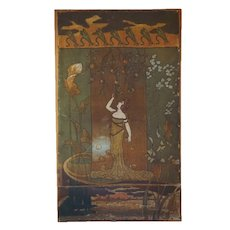 Signed Continental Art Nouveau Painting on Canvas Furniture Panel, Lady picking Fruit