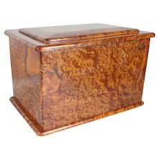 Vintage Italian Solid Burled Briarwood Jewelry Box
