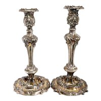 Large Pair of American Reed & Barton Victorian Rococo Revival Silverplate Repousse Candlesticks