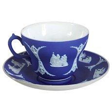 Vintage English Wedgwood Dark Blue Jasperware Pottery Teacup and Saucer