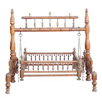 Indian Teak Gilt Decorated (Jhoula) Cradle Swing