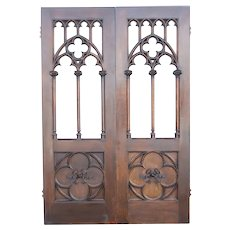 Large American Gothic Revival Quarter Sawn Oak Double Door Room Divider