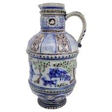 German Salt Glazed Blue Stoneware Pottery Hunting Pitcher / Master Stein