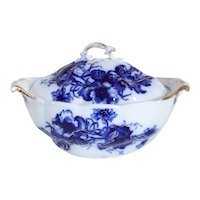English W.H. Grindley & Co. Parcel Gilt Flow Blue Pottery Poppy Pattern Covered Tureen