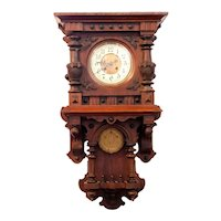German Schlenker & Kienzle Walnut Open Wag Wall Bracket Clock