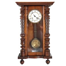 German Vienna Style Walnut Regulator Wall Clock