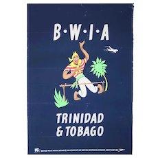 Vintage British West Indies Airline ALDO COSOMATI Advertising Poster, Trinidad & Tobago