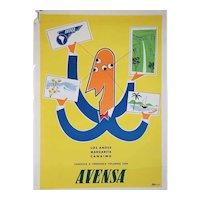 Vintage Venezuelan Avensa Airline Advertising Travel Poster