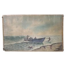 American ELLA SLECKETT Painting on Canvas, Boat coming to Shore