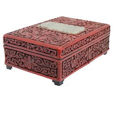 Small Chinese Qing Red Cinnabar and Celadon Jade Dresser Box