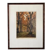 LUDWIG BURGEL Etching on Paper, Autumn Forest