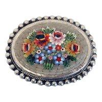 Vintage Italian Micromosaic Floral Oval Brooch