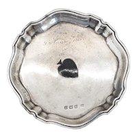 Small English Deakin & Francis Sterling Silver Inlaid Spade Salver Tray