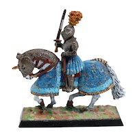 German Painted Tin Alloy Medieval Knight on Horseback Miniature Figure