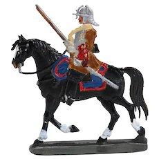 German Painted Lead Soldier on Horseback Miniature Toy Figure