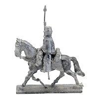 Three-Piece Austrian Lead Miniature Toy Soldier Figure on Horseback