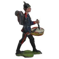 Vintage British Painted Lead Military Toy Soldier Drummer Figure