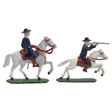 Two German Painted Lead Miniature Mounted Toy Soldier Figures