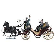 Miniature Painted Lead Kaiser Franz Josef I Horse Drawn Carriage Model