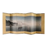 Small Vintage Japanese Paper Six-Panel Folding Byobu Landscape Table Screen