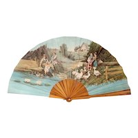 French Printed Fabric and Wood Folding Fan