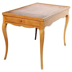 Small French Pearwood Leather Top Side Table / Writing Desk