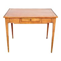 French Directoire Style Walnut Tooled Leather Top Rectangular Side Table