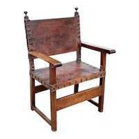 Italian/Spanish Walnut and Tooled Leather Armchair