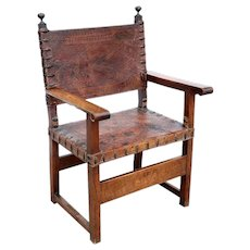 Spanish Baroque Marquetry Walnut and Tooled Leather Armorial Armchair