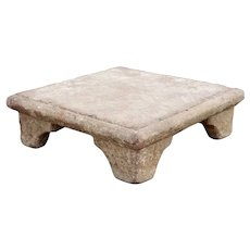 French Limestone Square Low Pedestal Base