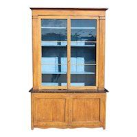 Large French Provincial Painted Poplar and Glass Buffet a Deux Corps Cupboard