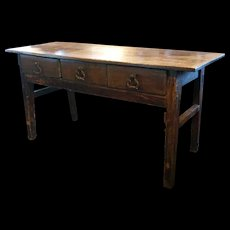 Spanish Late Baroque Chestnut Sideboard Table