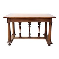 French Henri II Style Pale Walnut Center / Library Table