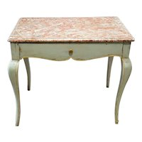 French Provincial Louis XV Style Faux Marble Painted Rectangular Side Table