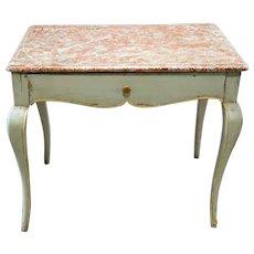 French Provincial Louis XV Style Faux Marble Painted Side Table