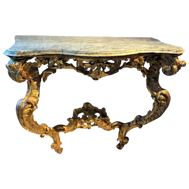 French Louis Xiv Giltwood Wall Console Table