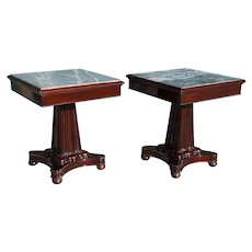 Pair Anglo Indian William IV Marble and Mahogany Square Pedestal Side Tables