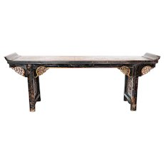 Large Chinese Gilt and Black Lacquer Elm Console Altar Table