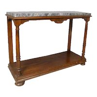 French Marble Top Pale Walnut Console
