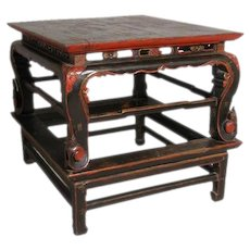 Chinese Lacquered Elm Square Center Table