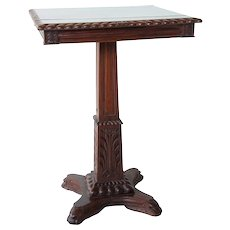 Anglo Indian Rosewood Square Pedestal Side Table