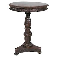 Anglo Indian Rosewood Round Tilt-Top Pedestal Side Table
