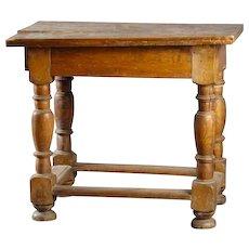 Danish Baroque Oak Box Stretcher Plank Top Side Table